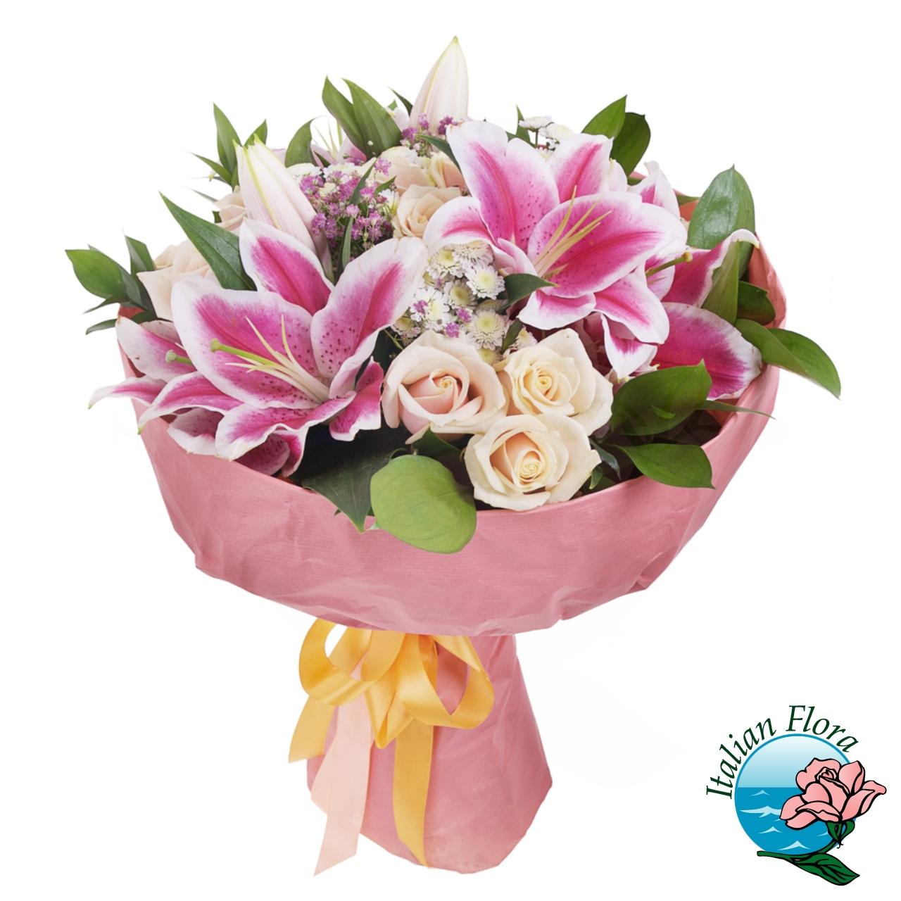 Mazzo Di Fiori Con Rose.Bouquet Di Fiori Per Anniversario Con Rose E Gigli