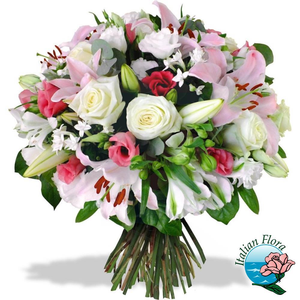 Con Fiori.Bouquet Di Lilium Con Fiori Rosa Rose Bianche