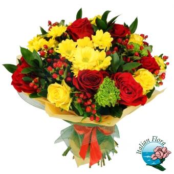 Fiori Gialli Rose.Bouquet Di Fiori E Rose Gialle E Rosse