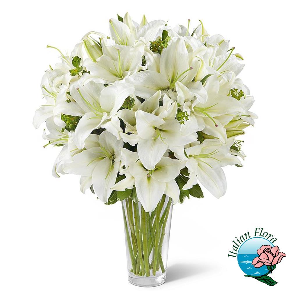Mazzo funebre di gigli e fiori bianchi for Sempreverde con fiori bianchi e profumati