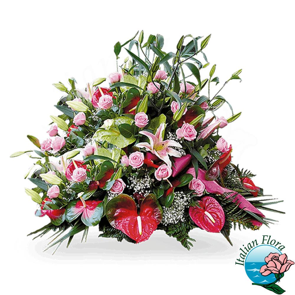 Mazzo Di Fiori Per Funerale.Cuscino Di Fiori Per Funerale Con Anthurium