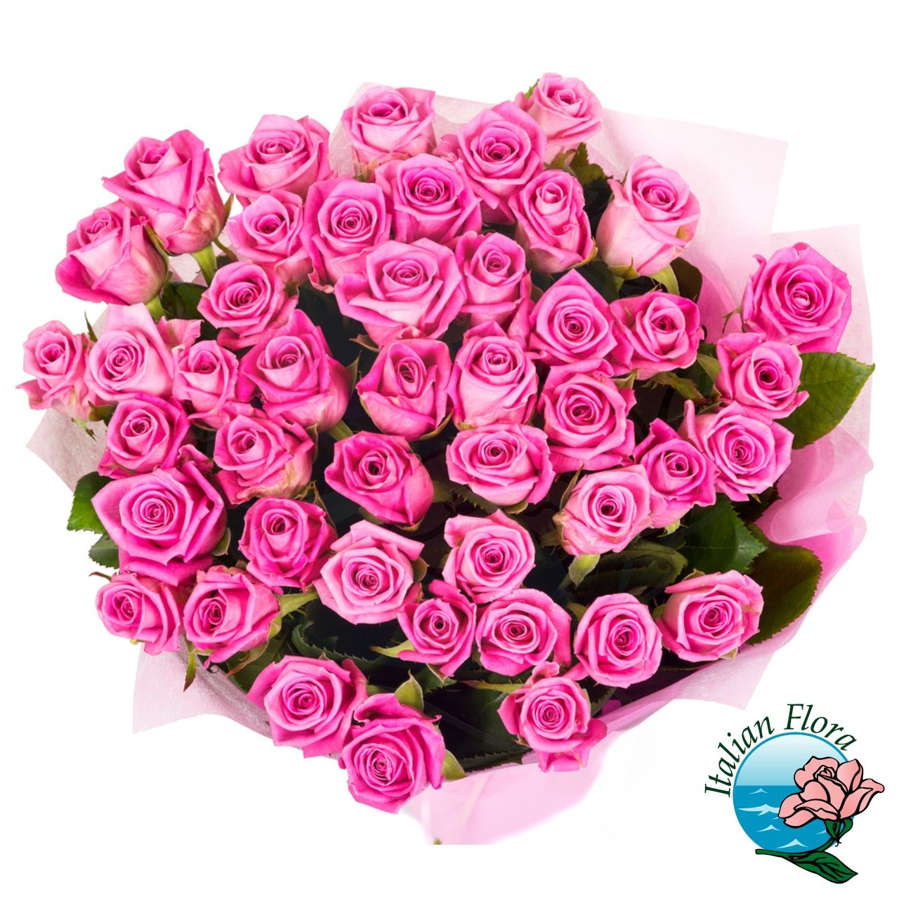 Mazzo Di 50 Rose Rosa Per Compleanno