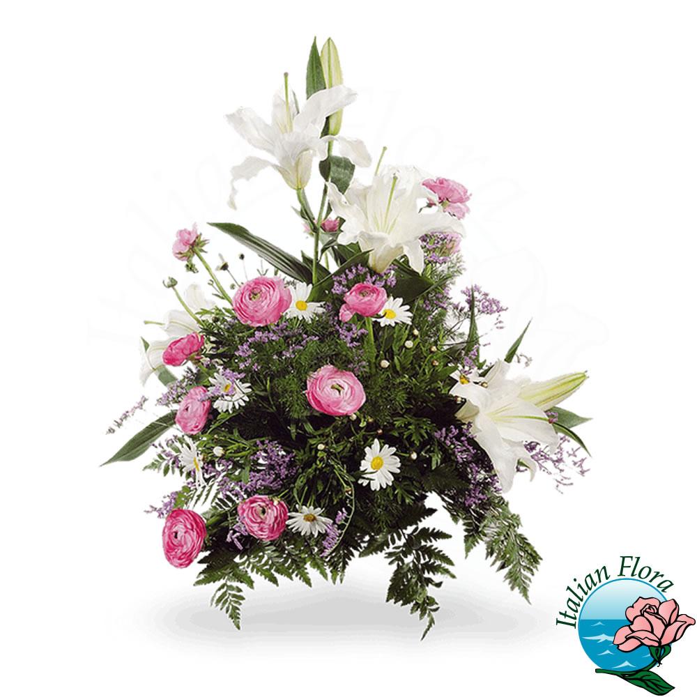 Composizione funebre bianca e rosa for Bacche rosse nomi