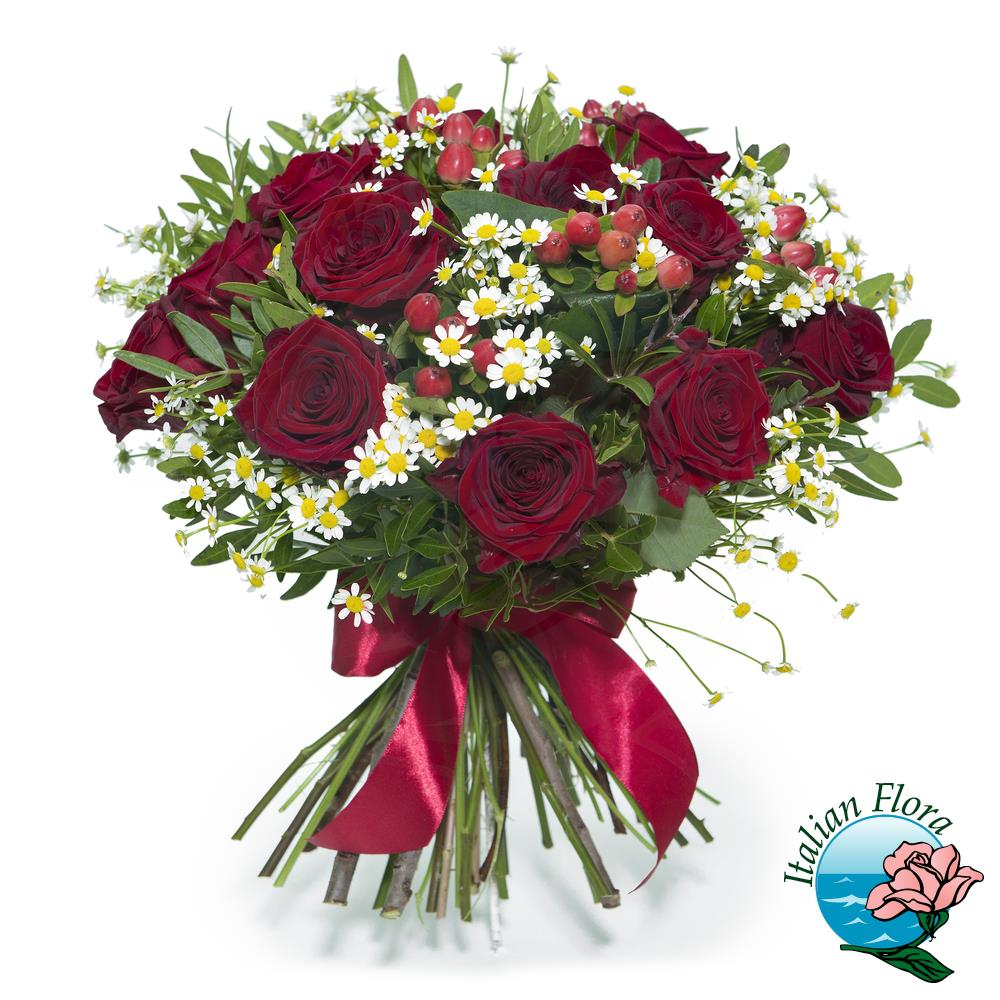 Rose rosse e margherite bianche