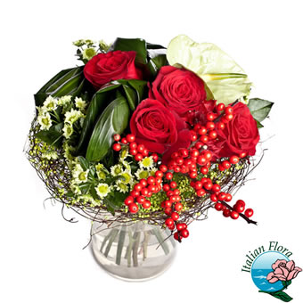 Bouquet natalizio con anthurium