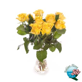 Bouquet di 9 rose gialle