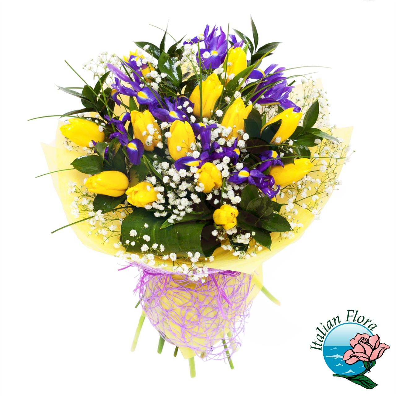 Mazzo Di Fiori Iris.Bouquet Di Tulipani Gialli E Iris Blu