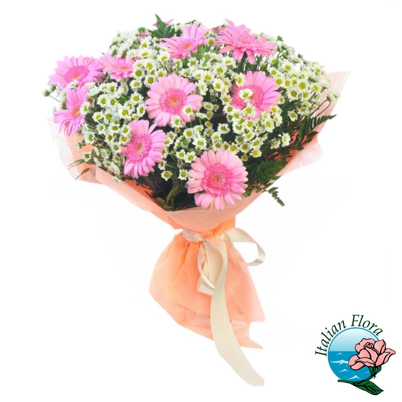 Bouquet di gerbere rosa e margheritine bianche for Fiori gerbere