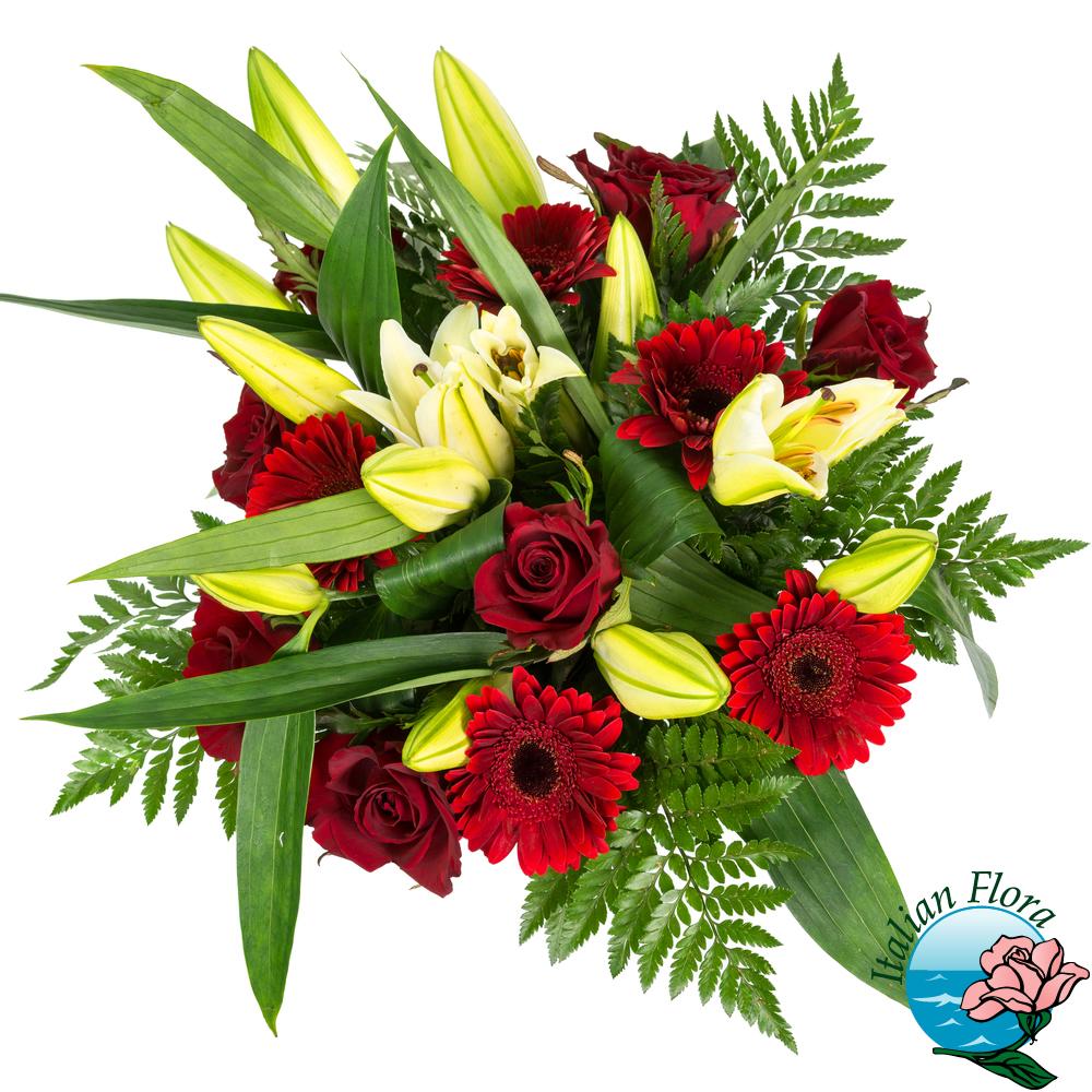 Bouquet gigli gialli con gerbere e rose rosse for Fiori gerbere