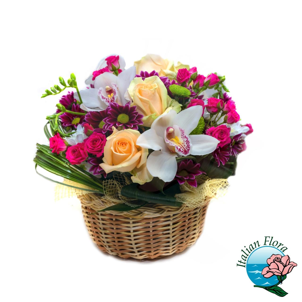 Cestino con orchidea e rose gialle for Orchidea foglie gialle