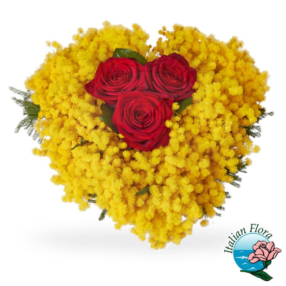 Mazzo Di Fiori E Mimosa.Bouquet Di Tre Rose Rosse Con Mimosa