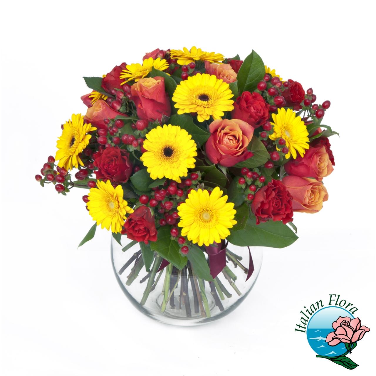 Omaggio floreale con gerbere e fiori gialli for Fiori gerbere