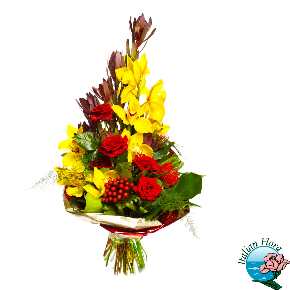 Bouquet con orchidee gerbere e rose rosse