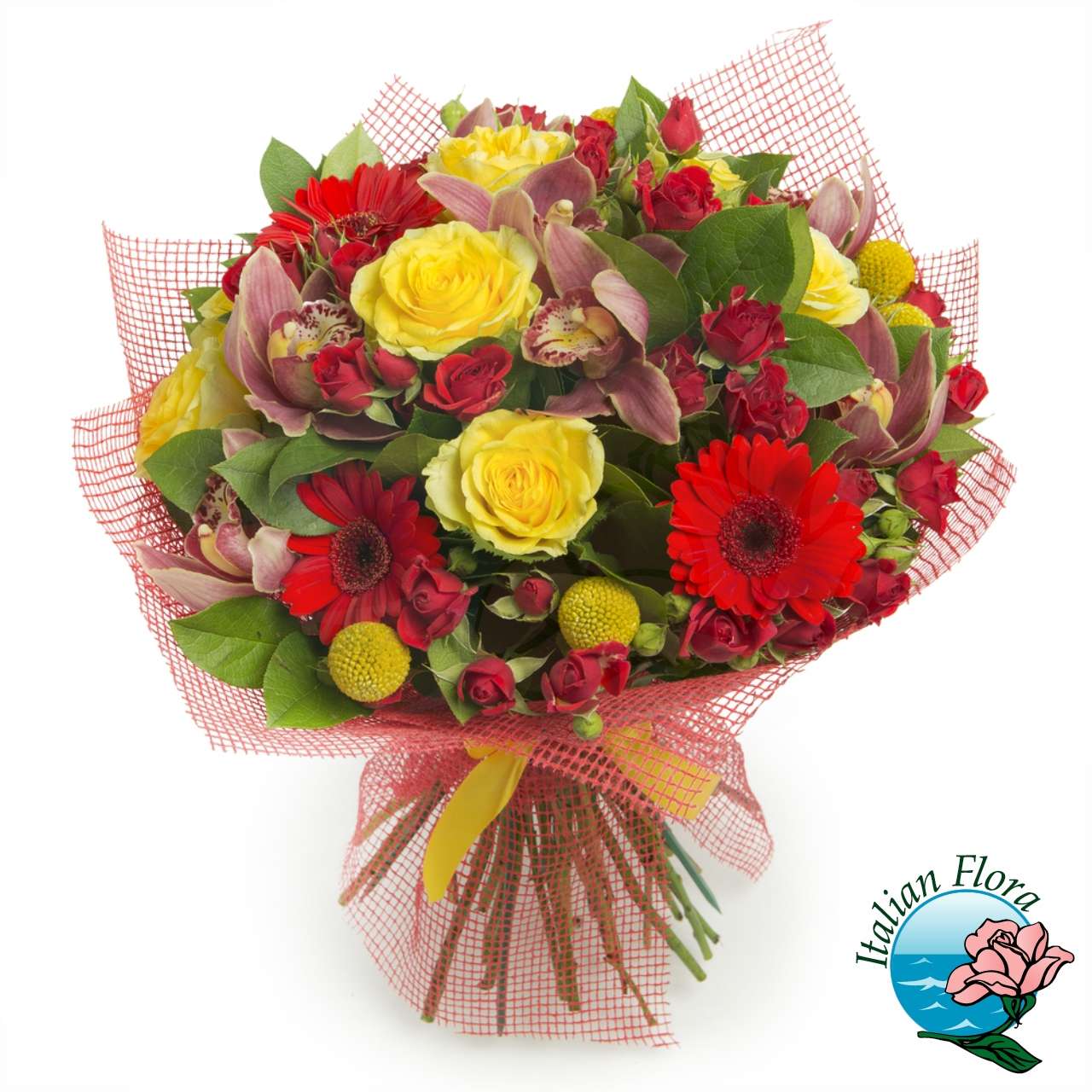 Bouquet con Gerbere rosse e roselline gialle