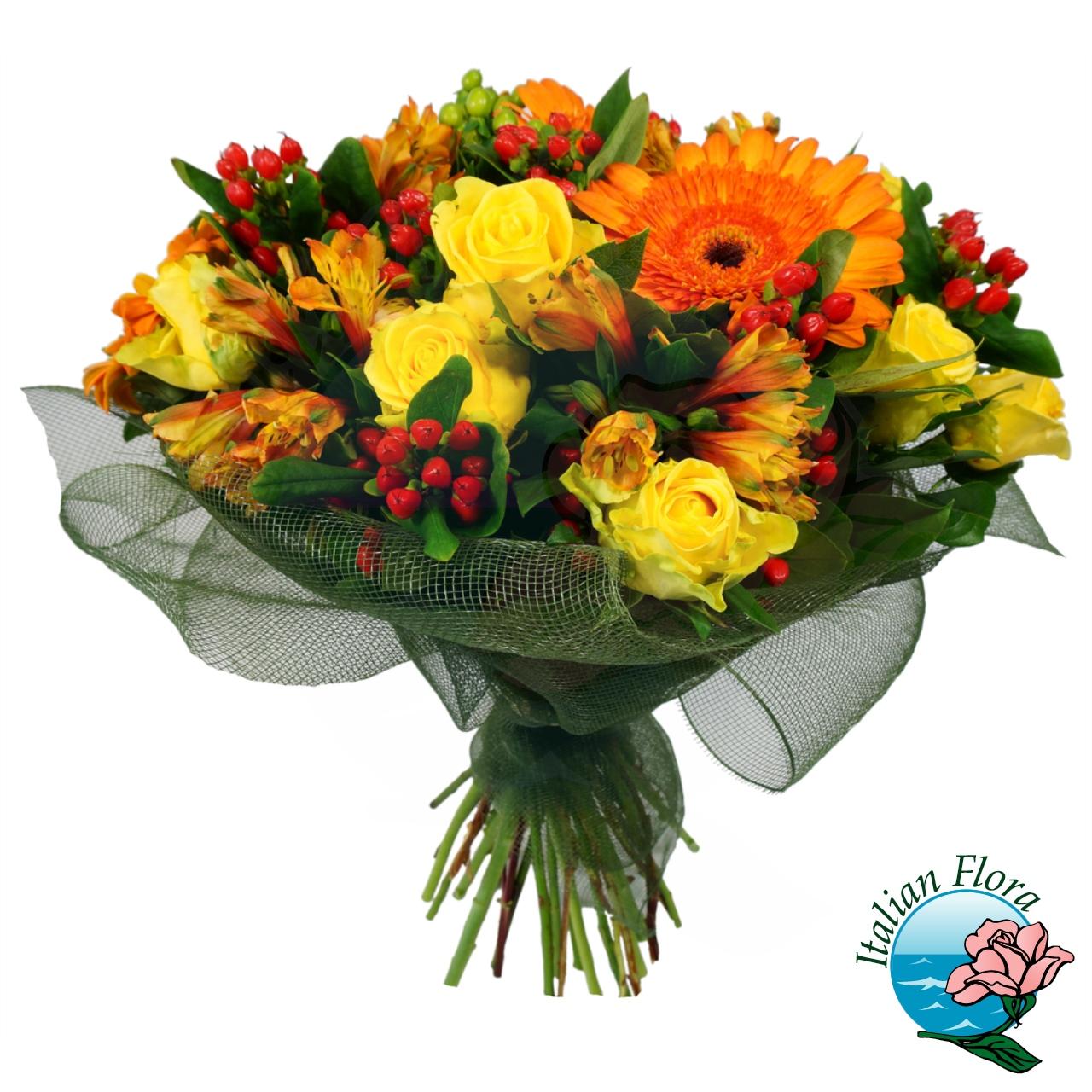 Mazzo Di Fiori Costo.Bouquet Di Fiori Misti Gialli E Arancio