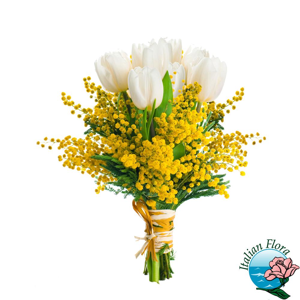 Mazzo Di Fiori Con Mimose.Mazzo Di Mimosa E Tulipani Bianchi