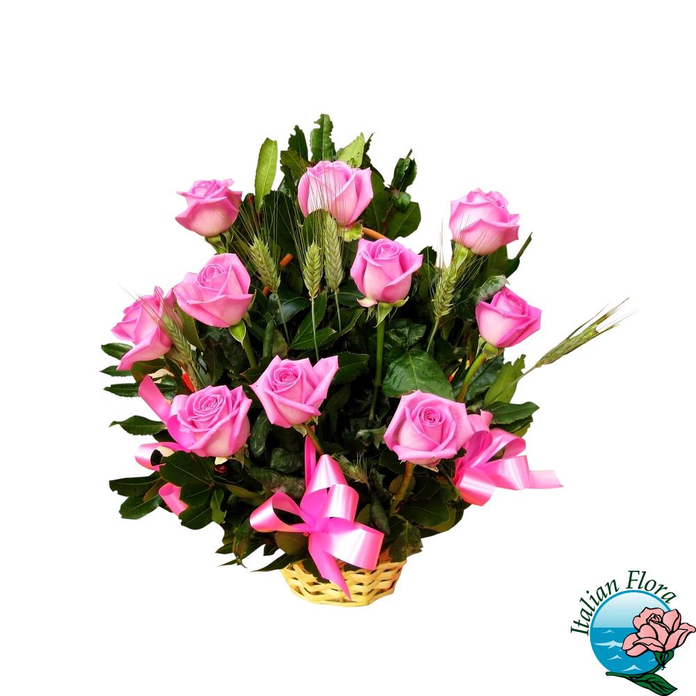 Cestino di rose rosa for Libri per fioristi