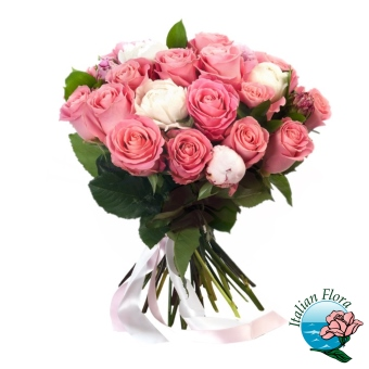 Bouquet di rose bianche e rosa