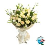 Bouquet di roselline avorio raffinato. Consegna in Italia.