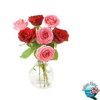 Bouquet di rose rosa e rosse